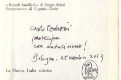 Autografo di Carlo Pedretti  estimatore di Solmi